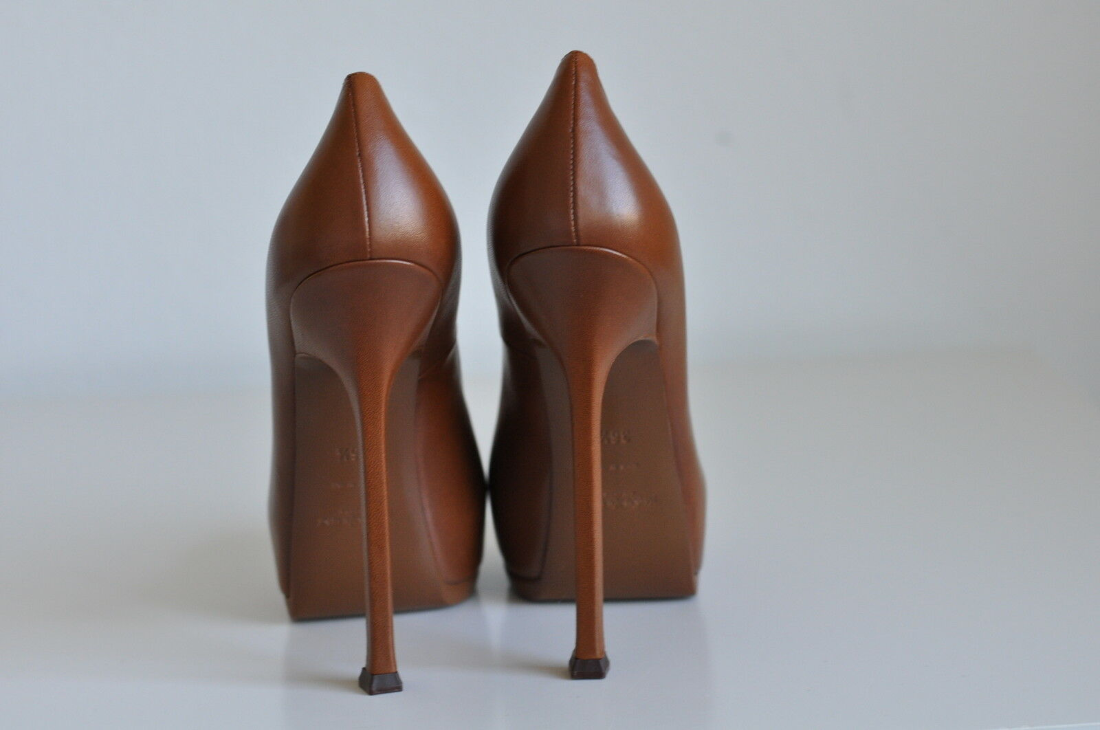 NIB Auth YSL Yves Saint Laurent Tribtoo 105 Leather Platform 8 Pump Heel 8 Platform   38 01d9ce