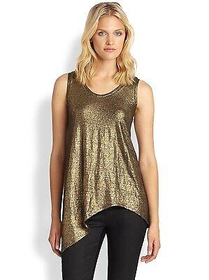 $158 EILEEN FISHER Black Gold Linen Jersey Shimmer Tank w/ Asym Hem S NWT