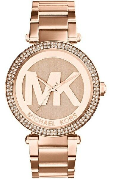 New Michael Kors Ladies Watch Parker Rose Gold Steel MK Logo Glitz Dial MK5865