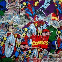 BonEful Fabric FQ Cotton Boy Room Marvel DC Comic Super Hero VTG OOP Batman Hulk