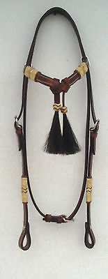 NEW Western Leather Headstall/BRIDLE Raw hide Futurity Horse Hair Knot Browband1
