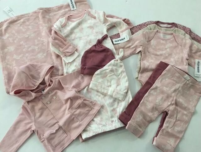 Old Navy Baby Girl Layette Pink Ivory Blanket Gown Hats Pants ...
