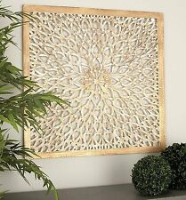 Rustic Decorative Square Wood Carved Scroll Lacework Wall Art Panel Home  Decor