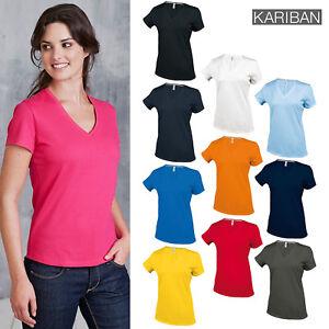 Kariban-Women-039-s-Short-Sleeve-V-Necked-T-Shirt-K381-Plain-Casual-Cotton-Tee