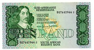 SOUTH AFRICA 10 RAND 1979-81 P 120 SIGN 5 UNC