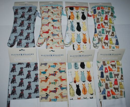 NEW NWT ULSTER WEAVERS DACHSHUND DOGS CATS 2 Oven Mitts GAUNTLETS or 2 Tea Towel