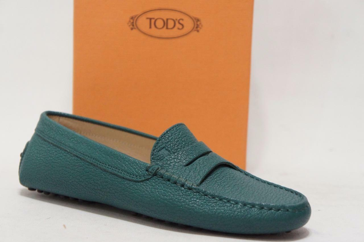 TOD'S GOMMINI GREEN LEATHER MOCCASIN DRIVERS SHOES 36 6  425