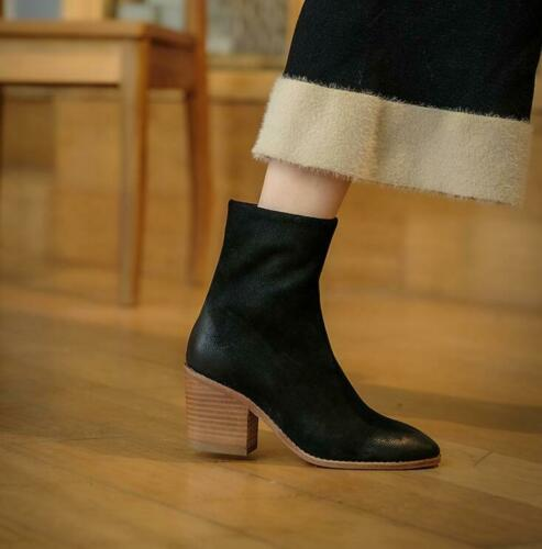 Details about  /New Fashion Korean Suede Ankle Boots Women/'s Vintage Round toe mid-heels Booties