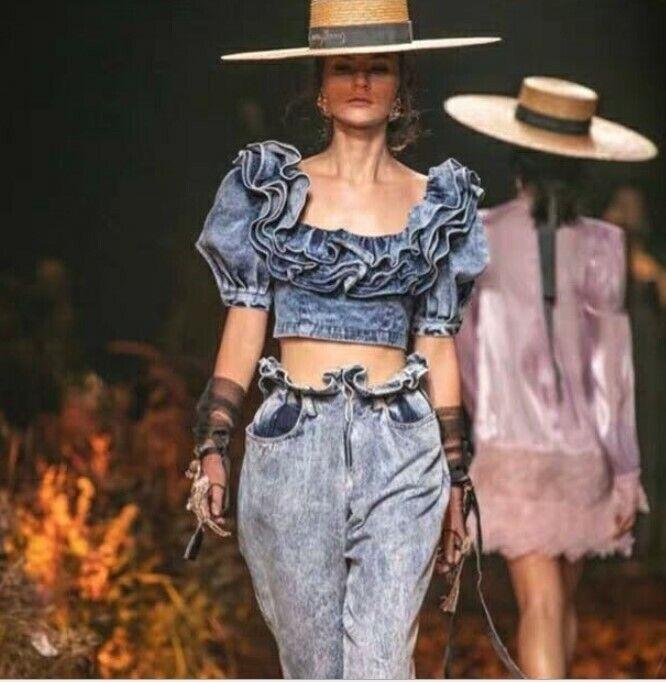 2019SS damen Designer Inspirot  Ruffle Denim Crop Top Blouse