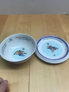 2001-2-Pc-Wedgwood-PETER-RABBIT-Children-039-s-Dish-Set-Plate-And-Bowl