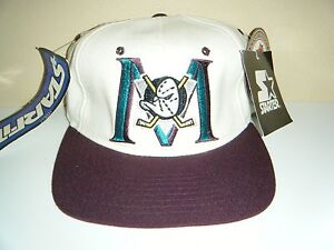 Anaheim Mighty Ducks VINTAGE STARTER Hat Stretch Fit NWT Fits Size 6 ... 85d7394f978a