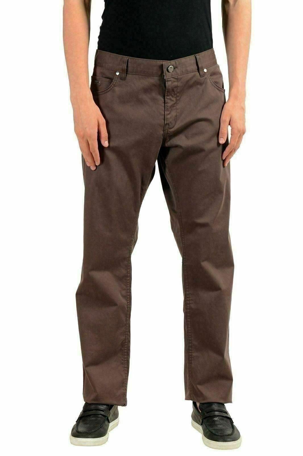 Hugo Boss Delaware1-7- Uomo Marronee Elasticizzato Slim Jeans Us 40 32 It 40