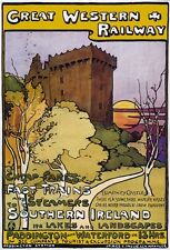 Vintage 1902 Great Northern Railway Ireland Tourism Poster Print A3//A4