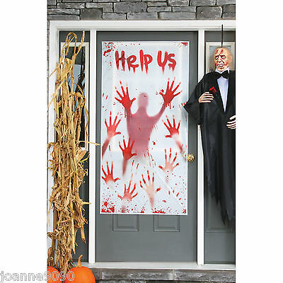 SCARY ZOMBIE HELP US PSYCHO BLOODY HANDS HALLOWEEN DOOR COVER POSTER DECORATION