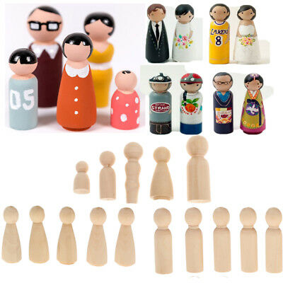 1 Sets of Bride and Groom Unfinished Wood Peg Dolls Cake Toppers 2 Piece
