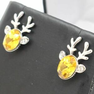 Sparkling-Yellow-Citrine-Earring-Women-Holiday-Jewelry-14K-White-Gold-Plated