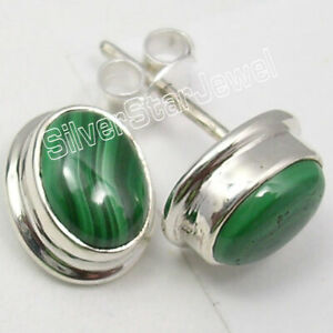 Solid-Sterling-Silver-Original-Malachite-2-6-Ct-Studs-Earrings-Combined-Shipping