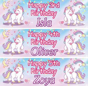 2-x-Banner-Personalizzato-Compleanno-Unicorno-Bambini-Nursery-Bambino-Party-Decorazione