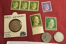 "WW2 German Third Reich ""Hitler Stamps"" & Nazi Eagle Coins..(lot A9)"