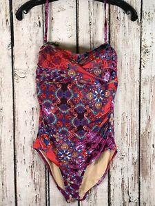 4fc68b72a75 Garnet Hill One Piece Swimsuit, Size 6, Purple Floral Paisley   eBay