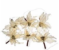 Qvc H206312 Kringle Express 6 Poinsettia Decorative 10 Feet Light Strand - Ivory