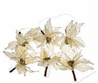 Qvc H206312 Kringle Express 6 Poinsettia Decorative 10 Feet Light Strand - Ivory