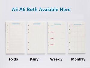 Planner Binder Refill Filler Paper Organizer A5 A6 Cute Colored Diary Journal