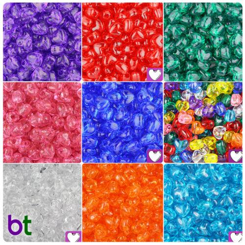 250pcs BeadTin Transparent 12mm Heart Vertical Holes Pony Beads Color choice