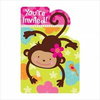Pink Mod Monkey Love Invitations (8) Birthday Party Supplies Stationery Cards