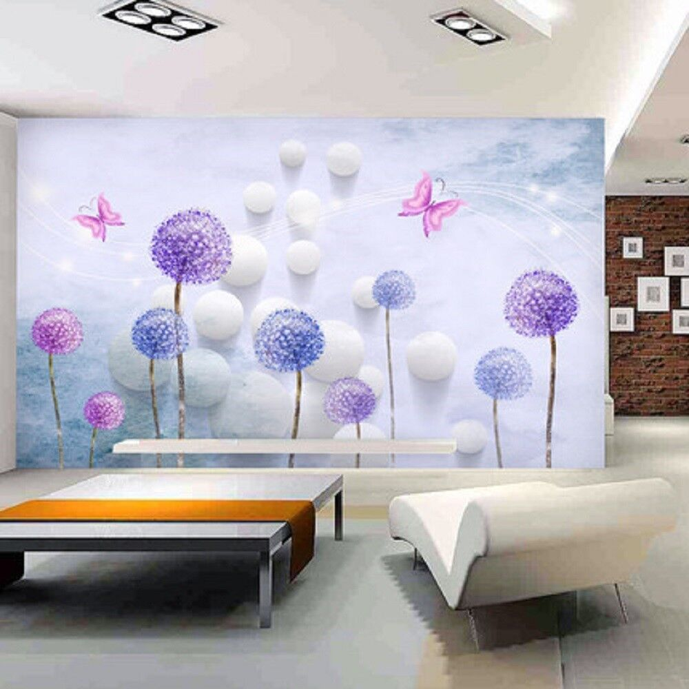 3D Lila Löwenzahn 84  Tapete Wandgemälde Tapete Tapeten Bild Familie DE   Üppiges Design    Schön und charmant   