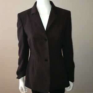 Kasper-Blazer-Size-8-Womens-Button-Up-Long-Sleeve-Black-Shoulder-Pads-Jacket