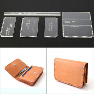 Leather Craft Clear Acrylic card holder coin purse Pattern Stencil Template DIY