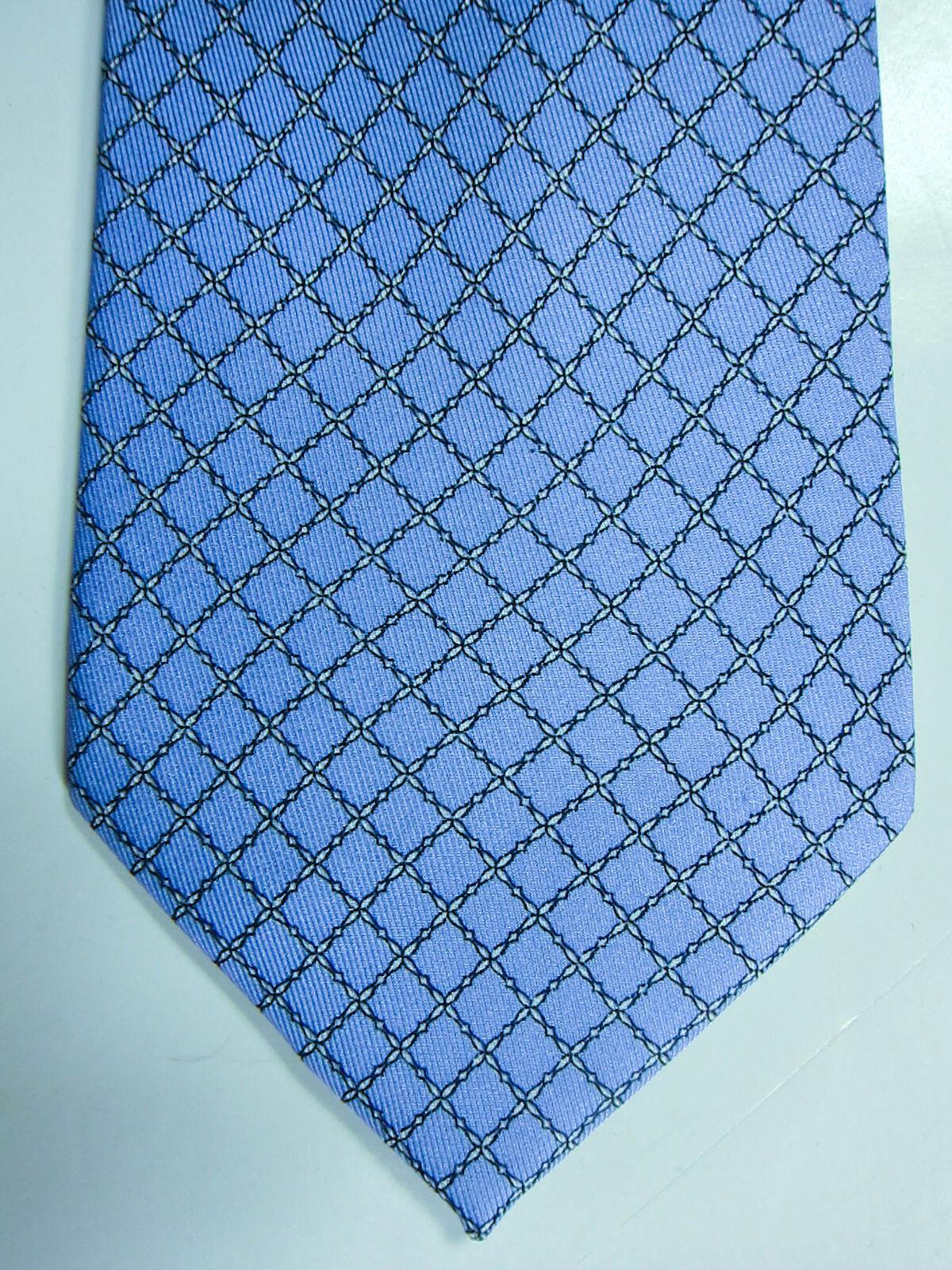 Neu J Mclaughlin Hellblau mit Weißen & Grau   Seile   Seidenkrawatte       Marke