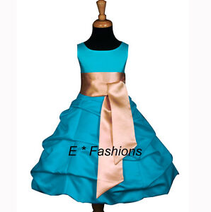 TURQUOISE-BLUE-GOLD-FLOWER-GIRL-DRESS-4-6-8-10-12-13-14