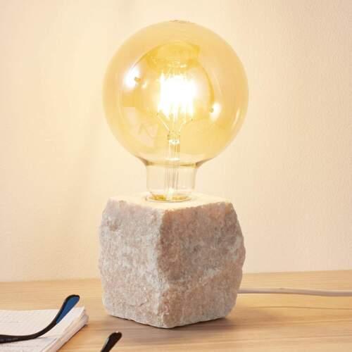 Tischleuchte Jordin Marmor weiß Würfel ohne Schirm Schalter Lampenwelt