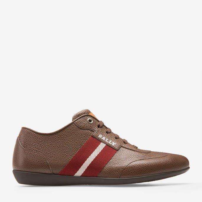 Homme Bally Harlam noix de coco marron en cuir de sport Athletic chaussures, taille 10.5