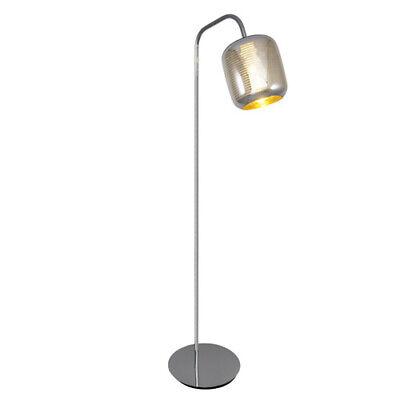 Stehleuchte Chrom Silber Klar Gestreift Glas Stehlampe Fußschalter Design Modern