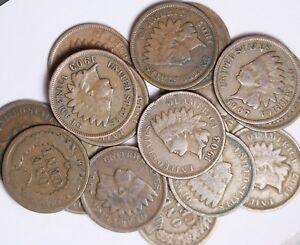 1900/'s 1800/'S LOT OF 10 Coins Mixed Indian Head Cent Pennies in Average Circ