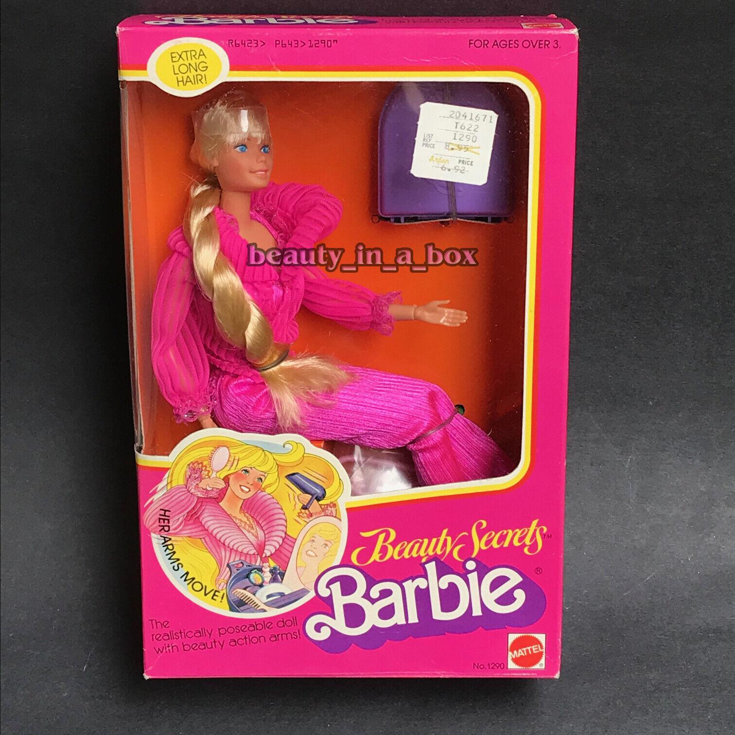 1979 secretos de belleza Muñeca Barbie Clásico Nº 1290 excelente caja de plástico transparente