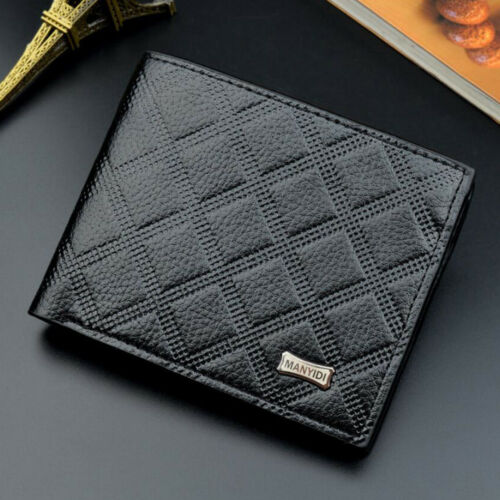 Men/'s Leather Grille Trifold Wallet Credit Card Holder ID Portefeuille Sac à main d/'embrayage