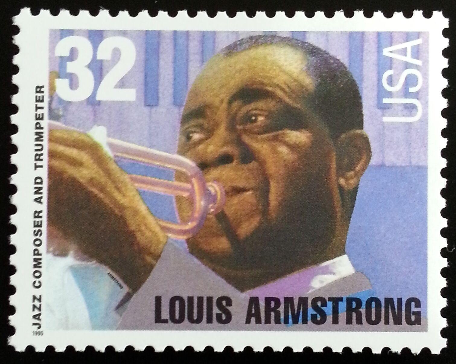 1995 32c Louis Armstrong, Jazz & Trumpet Scott 2982 Min