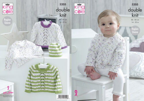 Baby Double Knitting Pattern Raglan Sleeve Sweater /& Hat King Cole DK 5205