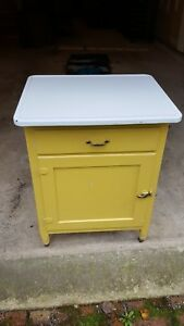 Etonnant Image Is Loading Antique Depression Era Kitchen Cabinet Porcelain Top End