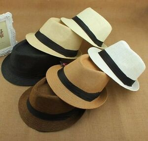 Image is loading Womens-Trilby-Fedora-Straw-Summer-Hats-Dance-Ladies- d188bb704