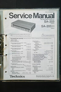 technics sa 203 stereo receiver original service manual manual House Amplifier Wiring Diagram image is loading technics sa 203 stereo receiver original service manual