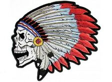 """(L36) SCREAMING INDIAN SKULL 11"""" x 9.75"""" iron on back patch (4696) Biker"""