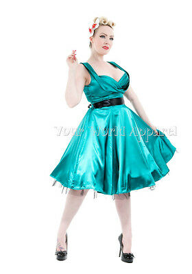 H&R LONDON TEAL GREEN SATIN PARTY 1950's DRESS Vintage MARILYN Bridesmaid PROM
