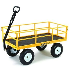 Details About 1,200 Lbs Heavy Duty Steel Yard Cart Garden Lawn Utility  Wagon Removable Flatbed