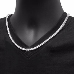 Womens-Magnificent-3Mm-Round-Cubic-Zirconia-Tennis-Necklace