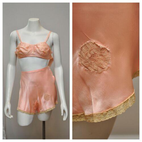 VTG 1930s Peach Silk Tap Panties Matching Bra Bral